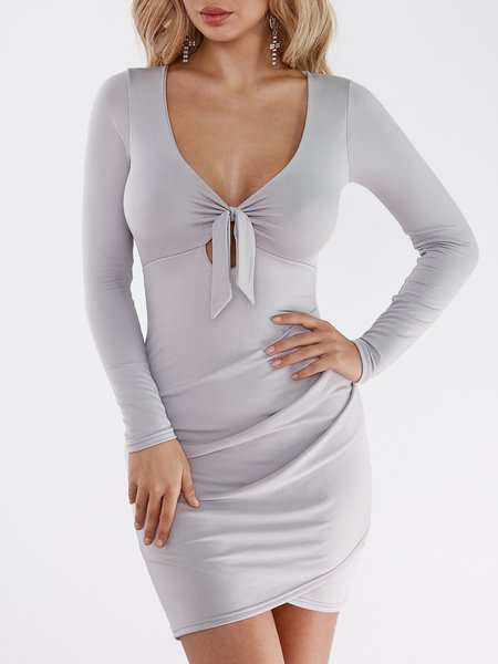 Grey Tie Front Cross Hem Bodycon Mini Dresses