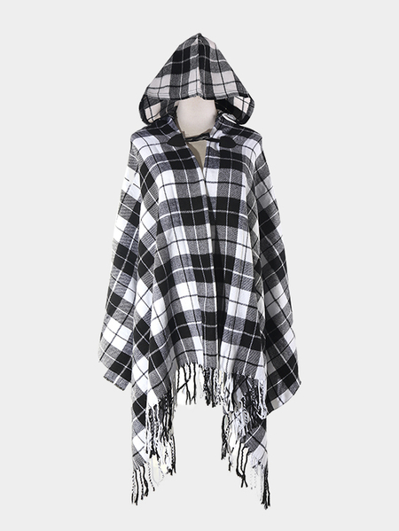 Hooded Cape In Check Pattern
