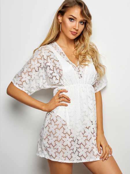 White Lace Details Deep V Neck Half Sleeves Drawstring Waist Beachwear