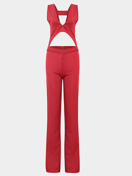 Red Bodycon Low Cut V-neck Backless Jumpsuit
