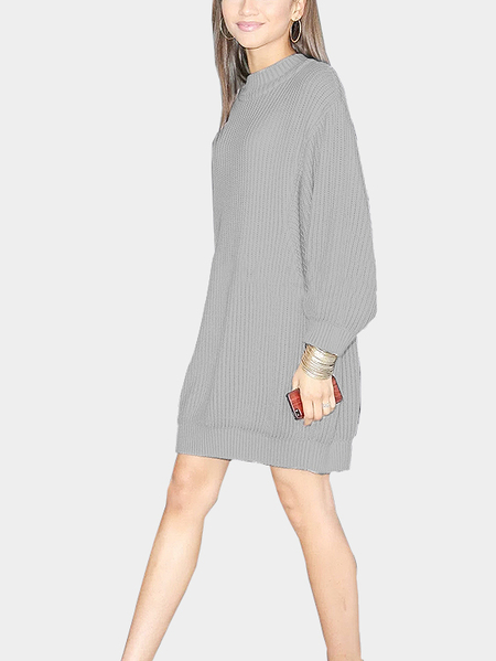 Grey Dolman Sleeve Loose Jumper