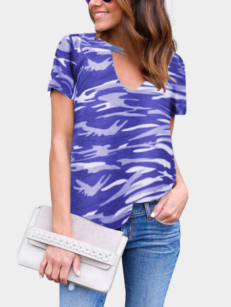 Purple Cut Out Camouflage Round Neck Short Sleeves T-shirt