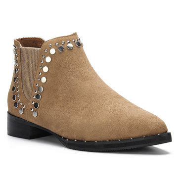 Brown Studded Embellished Lace-up Pointed Toe Ankle Boots