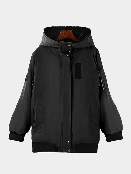 Black Fashion Hooded Jacket