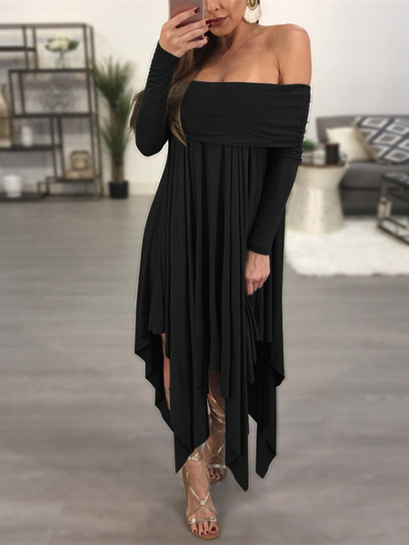 Black Off-the-shoulder Overlay Dress