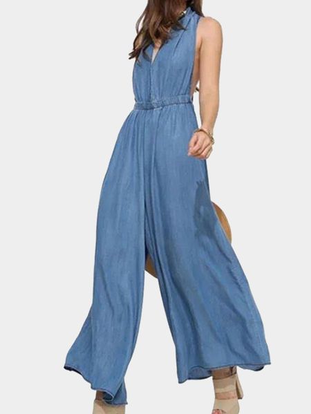 Blue V Neck Tie Denim Wide Leg Jumpsuit with Open Back