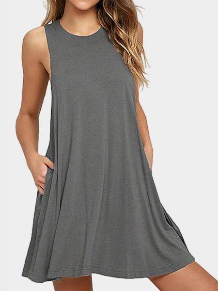 Grey Round Neck Side Pockets Mini Dress