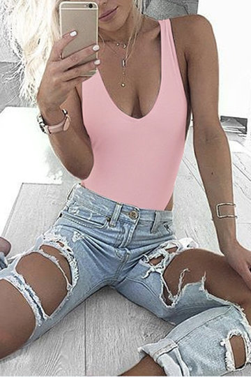 Sexy V-neck Backless Bodycon Swimwears in Pink