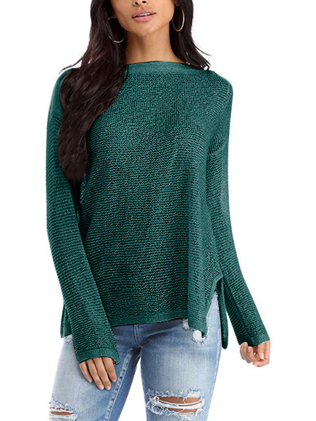 Green Slit Design Bateau Long Sleeves Knitted Top
