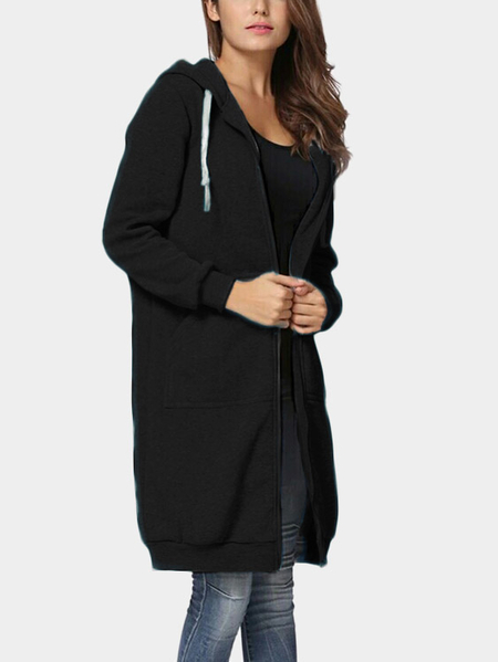 Black Causal Hooded Design Long Sleeves Coat