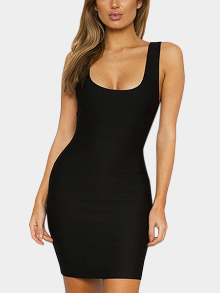 Scoop Neck Mini Bodycon Dress in Black