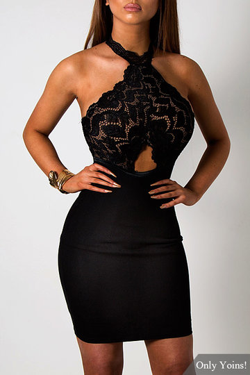 Black See-through Lace Insert Cut Out Halter Mini Dress