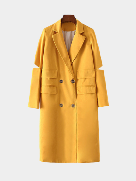 Yellow Hollow Sleeves Double Breasted Design Trench Coat