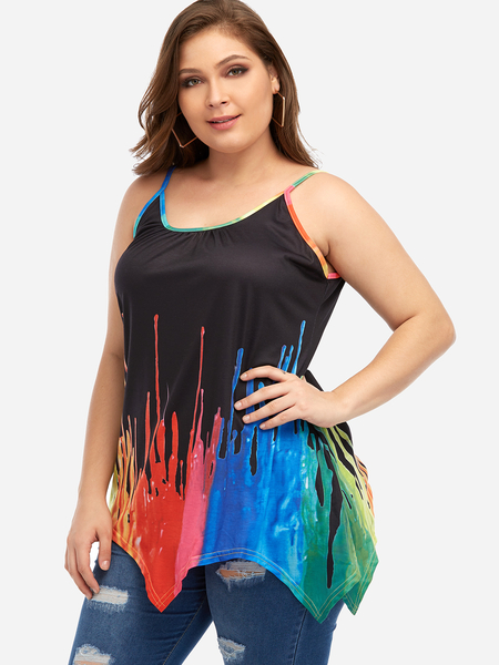 Plus Size Black Irregular Hem Cami