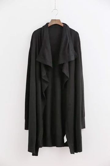 Black Longline Drape knitted Cardigan