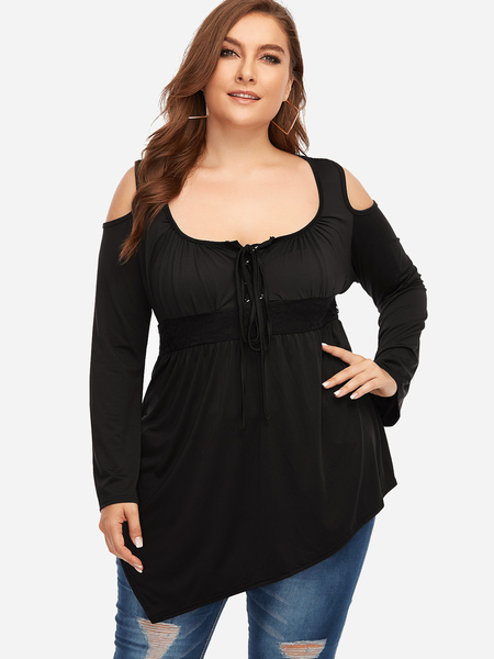 Plus Size Black Lace-up Front Cold Shoulder Tops