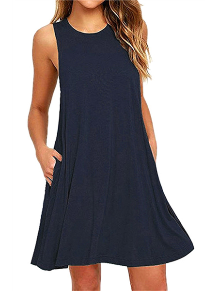 Navy Round Neck Side Pockets Mini Dress