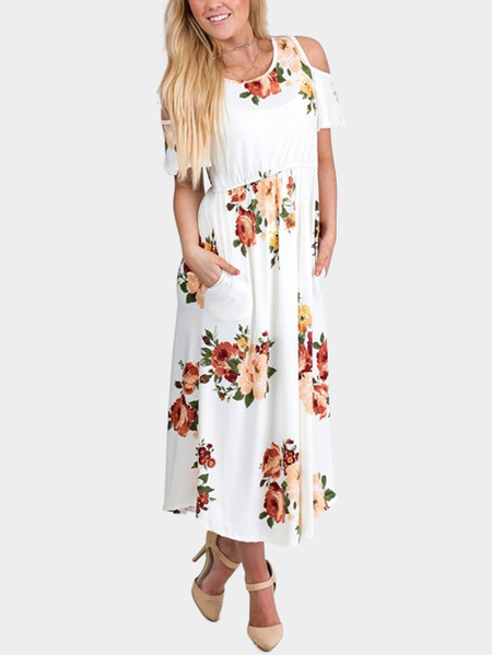 White Random Floral Print Cold Shoulder Maxi Dress