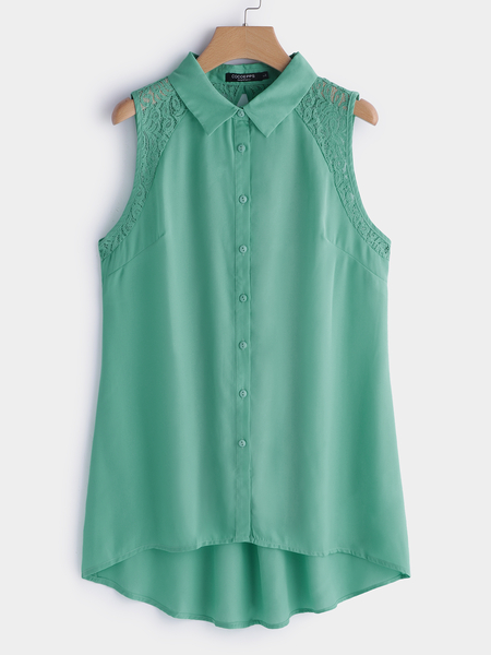 Plus Size Green Lace Details Classic Collar Tank