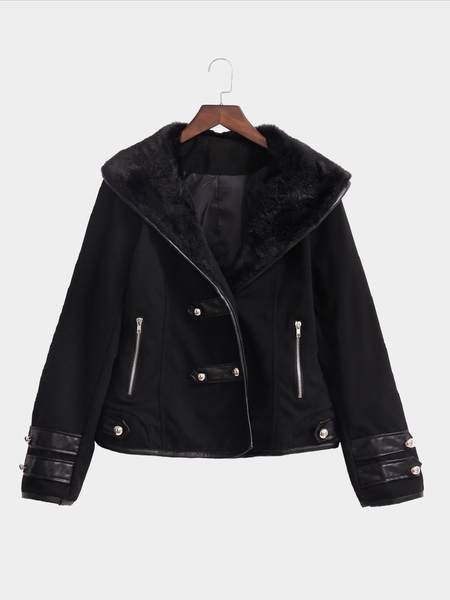 Black Button Embellished Short Outerwear with Fur Collar
