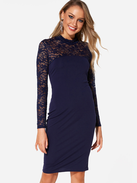 Navy Lace Details Long Sleeves Dress