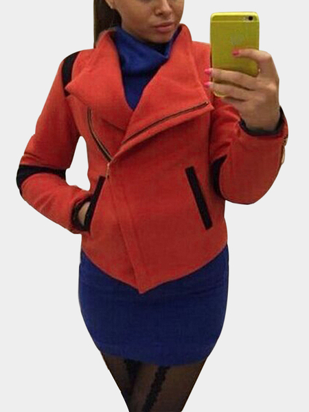 Red Asymmetrical Zippered Front Short Outerwear