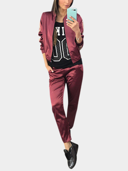 Active Causal Style Elastic Waist Sports Tracksuit in Burgundy