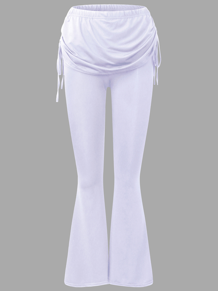 Active Wide Leg Stitching Design High Waisted Pants in White