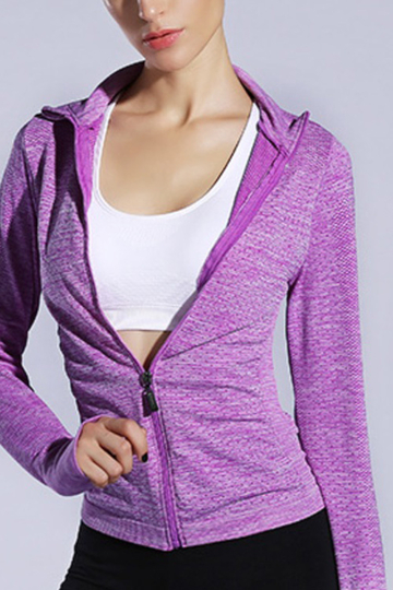 Active Lapel Collar Quick Drying Zip Design Windbreaker Jacket in Purple