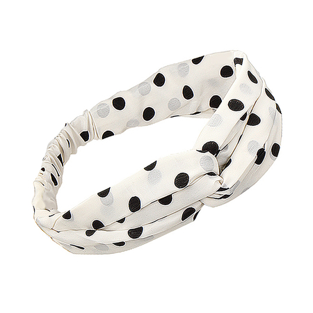 Boho Twisted Polka Dot Headband in bianco