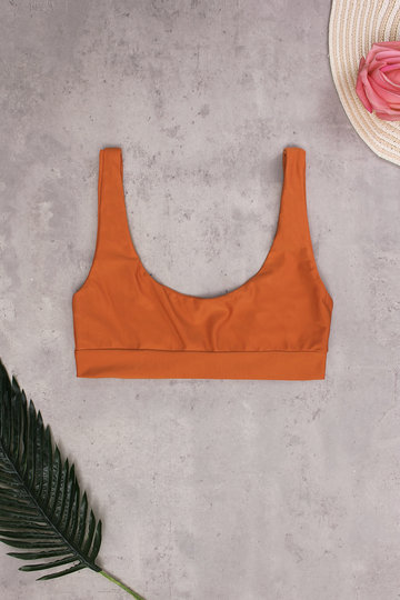 Orange Sexy Scoop Neck Bikini Top