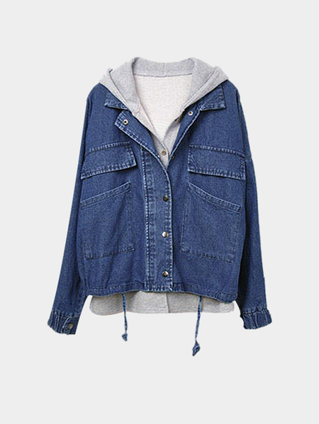 Hoodies Vest Bat-wing Button Closure Dark Blue Denim Coat Set
