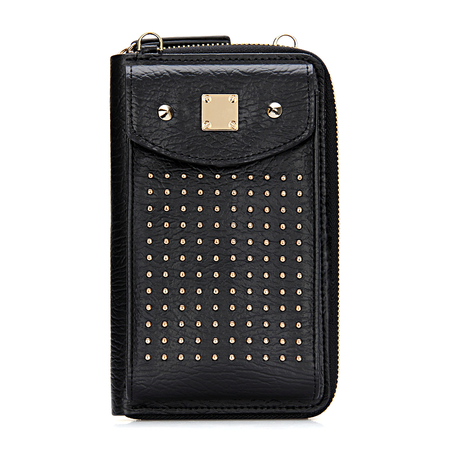 Foldover Leather-look Zipper Mobile Purse em preto