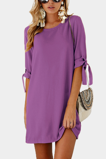 Purple Self-tie at Sleeves Mini Dress
