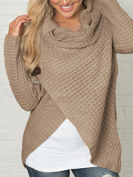 Khaki Crossed Front Design Roll Neck Knitted Jumper