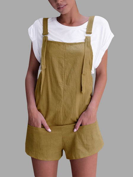 Casual Sleeveless Overalls Romper in Yellowish Brown