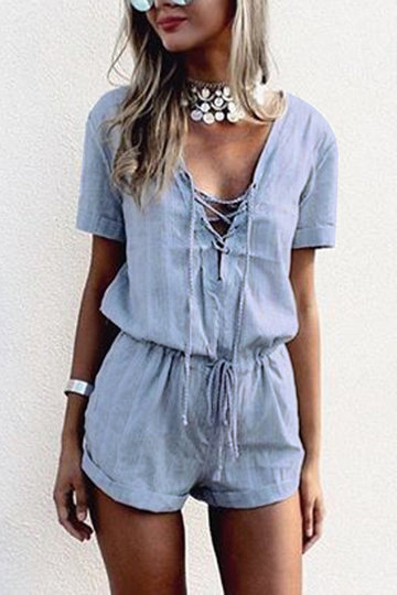 Crossed Front Design Drawstring Waist Playsuit with Short Sleeves