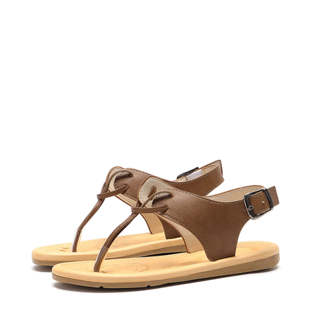 Brown Metallic Buckle Design Sandals