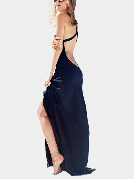 Black Sexy Open Back Splited Dress
