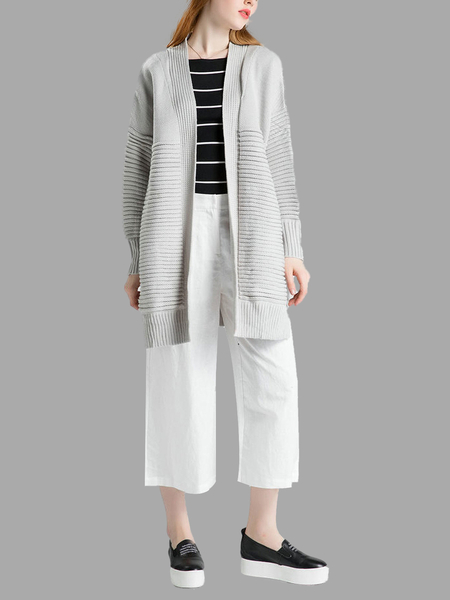 Grey Stripe Strickjacke