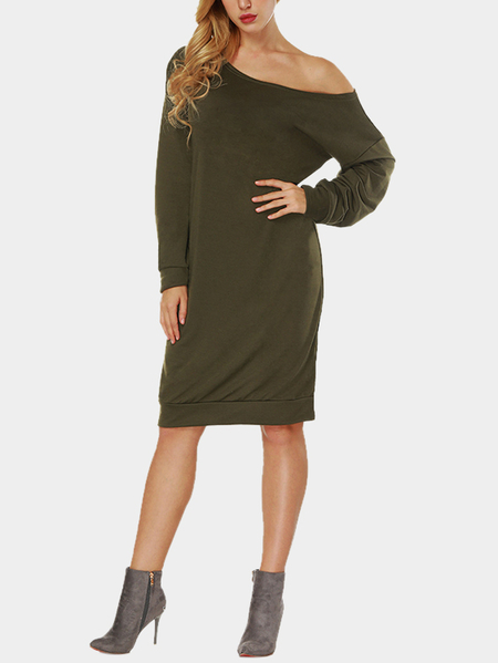 Army Green Casual One Shoulder Long Sleeves Midi Dress