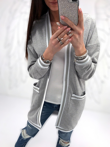 Grey Two Large Pockets Long Sleeves Loose Cardigans