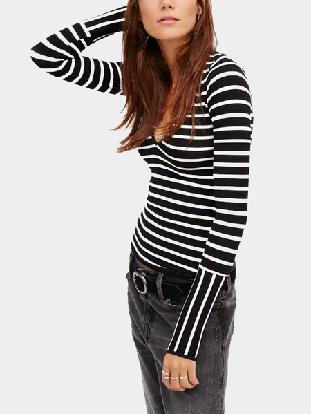Base Stripe V-neck Top with Mittens Sleeves Design
