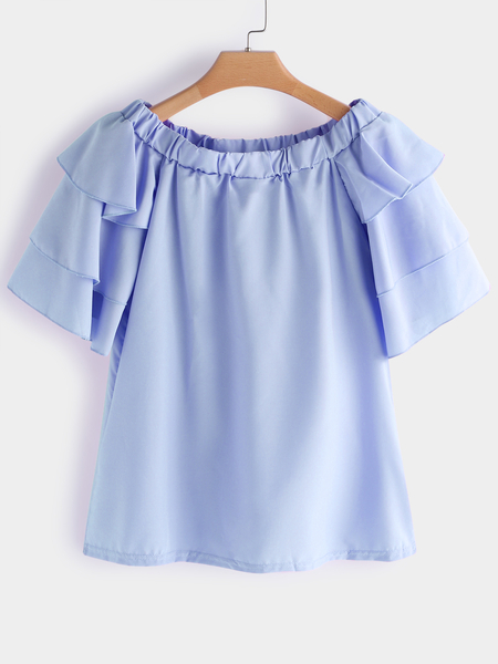 Blue Tiered Design Plain Off Shoulder Flared Half Sleeves Blouse