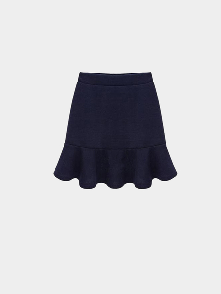Plus Size Navy Flouncing Mini Skirt
