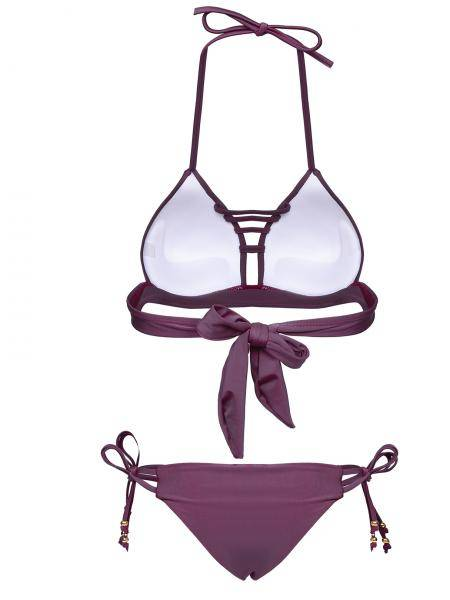 Halter Neck Lace-up Details Bikini Top & Bottom Set in Burgundy