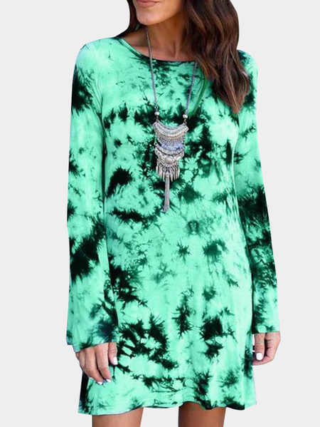 Green Backless Design Random Floral Print Long Sleeves Dress