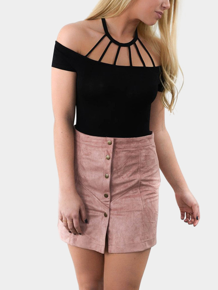 Sexy Halter Off The Shoulder Tee With Short Sleeves