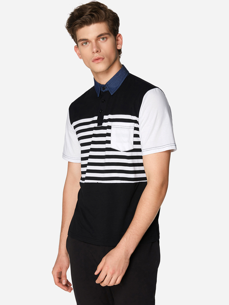 Black Sleeve Connected One Pocket Men's Polo Shirt