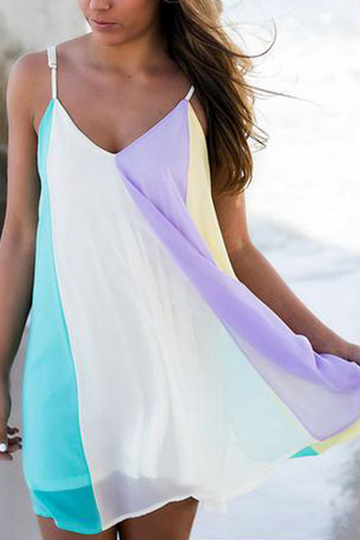 Rainbow Color Chiffon V-neck Sleeveless Mini Dress